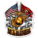Marine Corps Decals, Show Your Pride with Our Double Flag Gold Globe Marine Corps Patriotic Decals, Perfect for Your Kitchen, Car, Wall or Bike, Gifts for Marines (4IN)