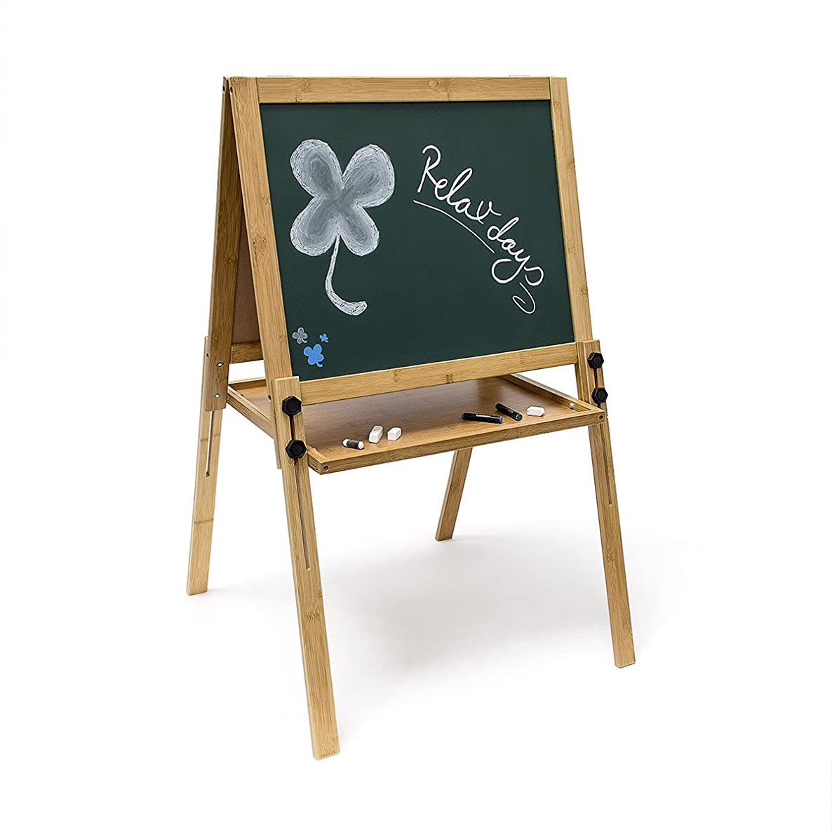 Relaxdays Bamboo Magnetic Blackboard Children's Chalk Board Height Adjustable Whiteboard (93x56.5cm) Dry Erase Board Painting Table Free-Standing Board, Green