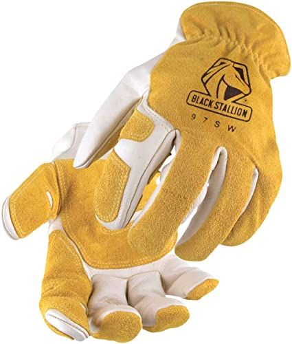 wholesale Revco Black Stallion 97SW Mens/Womens Leather wholesale Work/Drivers online sale Gloves With Reinforced Palm, Elastic Wristband, Xlarge online sale