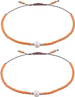 2 Pcs Friendship Bracelets New Seed Beaded Woven Lovers Bracelets Handmade Strand Bangles Gifts