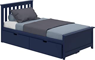 Max & Lily Solid Wood Twin-Size Bed Storage Drawers, Blue