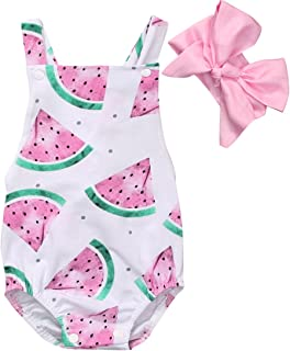 Canis Baby Girls' Watermelons Print Backless Ruffle Bodysuit With Headband