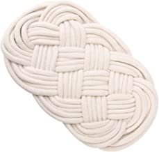 YARNOW Drink Coasters Jute Rope Coaster Handmade Braided Drink Coaster Heat- Resistant Table Placemat Housewarming Gift White