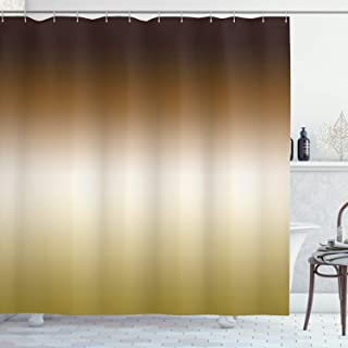 Ambesonne Gold Shower Curtain Home Decorations Art Bathroom Decor, 70 Inches Long, Polyester Fabric Set with Hooks, Ombre Theme Colorful Design Brown White Mustard