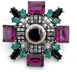 DREAMLANDSALES Gothic Vintage Imitated Pearl Dangle Black Cross Brooch Pin Women Religious Accessory
