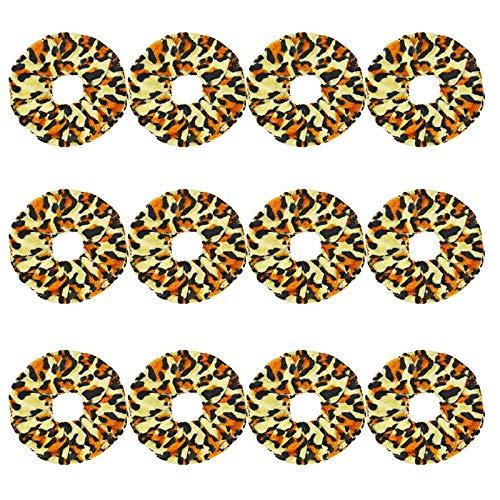 12 pièces/Set Femmes Velvet Scrunchie pack Bandeaux for les filles Couvre-chef Femme Leopard Chouchous Accessoires cheveux Ties (Color : Khaki, Size : One Size)