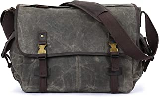 LIUFULING Men's Vintage Bag Briefcase Waxed Canvas Leather Shoulder Bag College Large Satchel College Student Rucksack (Color : Gray, Size : OneSize)
