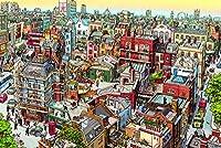 5000個のジグソーアート、大人のジグソーパズル、完璧に組み立てられたジグソーパズル、楽しい家族のパズル(都市の建物の色)
