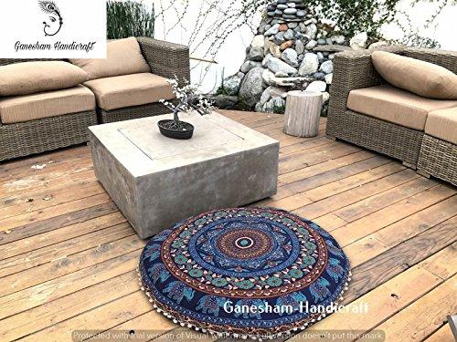 Ganesham Indien Fait à la Main pour Chat Décoration intérieure Bohemian Couvre-lit Taie d'oreiller sièges Pouf Housse de Coussin Rond 32 x 32
