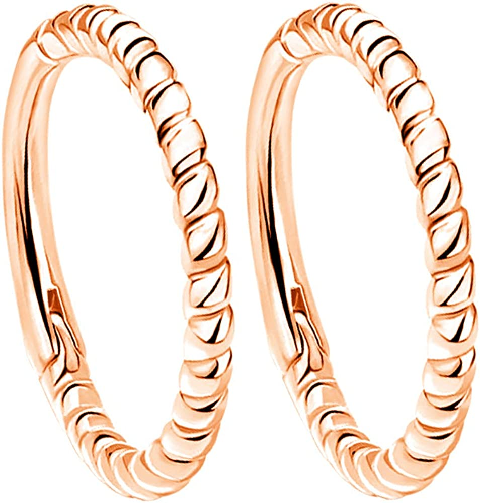 OUFER Helix Earring Hoop 16G Braided Hinged Hoop Rings Totally 316L Stainless Steel Daith Rook Tragus Conch Lobe Piercing Hoop Septum Ring