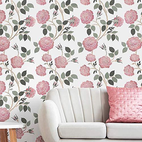 Wild Roses Allover Stencil - DIY Floral Stencil - Reusable Stencils for Home Decor