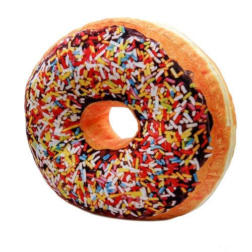 Donut Sitzkissen, Dekokissen, Kuschelkissen, Donat - bunte Streusel Schoko