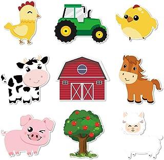 WERNNSAI Farm Party Centerpieces Sticks - Pack of 27PCS DIY Farm Animals Party Supplies Table Toppers Barnyard Cutouts Par...