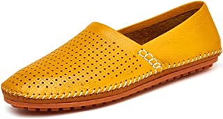Gooceo Mens Loafers Flats Moccasins Doug Driving Shoes Leather Air Hole Low-top Slip-