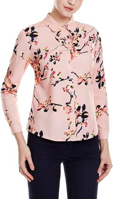 Blusa Camisa Damas Rosa Vintage Elegante Flor Impreso Tops ...