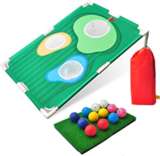 KETIEE Backyard Golf Cornhole Game, Golfing Chipping Net Golf Training Aids Golf Training Equipment Includes 12 Training Balls and 1 Hitting Mat