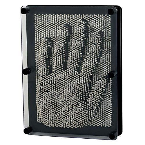 Hsxfl Classic 3D Metal Pin Art Toy - 8in x 6in 3D Large Size Pin Art Board for Kids or Adults (Silver)