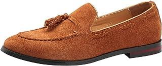rismart Men's Handmade Tassels Moccasins Suede Slip on Formal Loafer Shoes