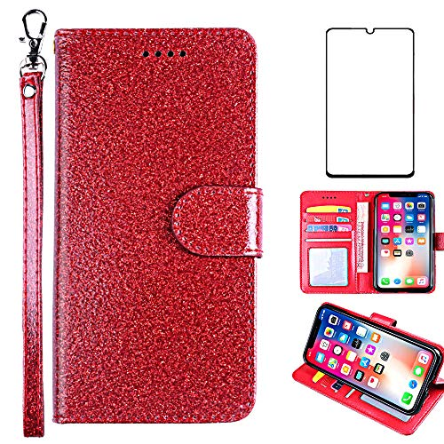 Asuwish Compatible with Samsung Galaxy S7 Edge Case Tempered Glass Screen Protector Cover Card Holder Slot Kickstand Glitter Wallet Phone Cases for Glaxay S7edge Gaxaly S 7 Plus GS7 7s 7edge Red