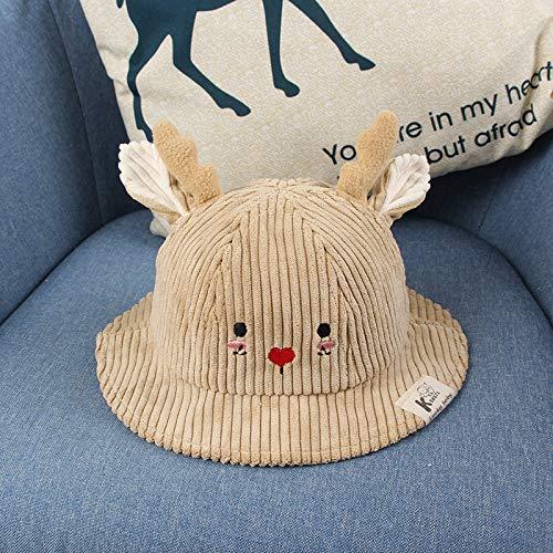 wtnhz Artículos de Moda Sombrero para niños otoño e Invierno Suave Pana de Dibujos Animados Lindo Ciervo Bordado Olla sombreroRegalo de Vacaciones