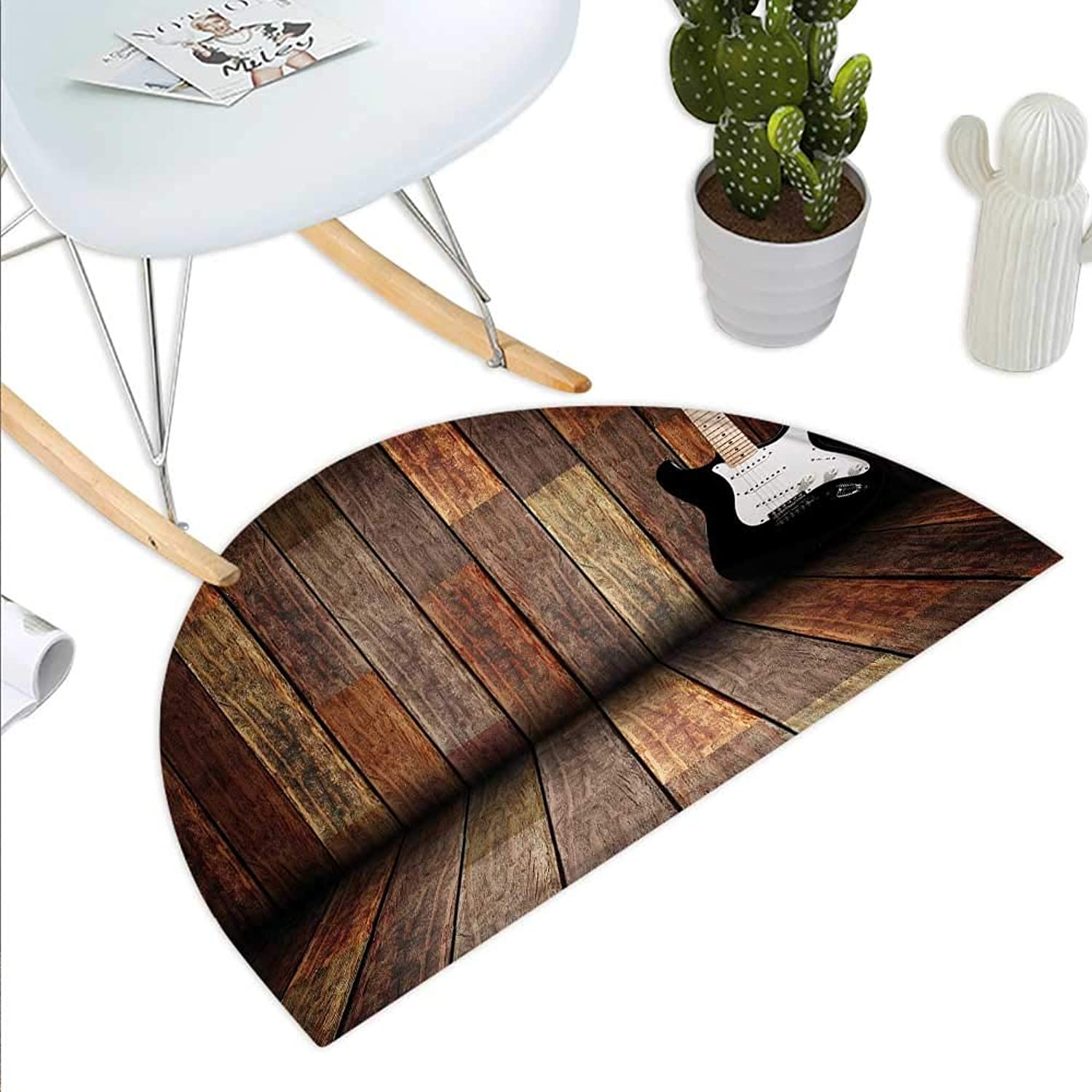Popstar Party Semicircle Doormat Electric Guitar in The Wooden Room Country House Interior Music Theme Halfmoon doormats H 39.3  xD 59  Brown Black White