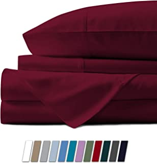 Mayfair Linen 100% Egyptian Cotton Sheets, Burgundy Twin XL Sheets Set, 800 Thread Count Long Staple Cotton, Sateen Weave for Soft and Silky Feel, Fits Mattress Upto 18'' DEEP Pocket