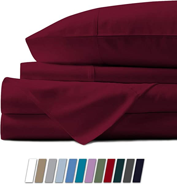 500 Thread Count 100 Cotton Sheet Burgundy King Sheets Set 4 Piece Long Staple Combed Pure Cotton Best Sheets For Bed Breathable Soft Silky Sateen Weave Fits Mattress Upto 18 Deep Pocket