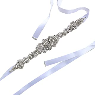 QHGstore ante di cristallo per nozze Matrimonio sposa cintura intrecciata con strass Sash pink2 \