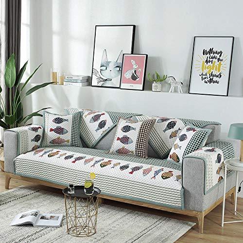 Área de recreación Cubierta de Sofá,Funda Antideslizante de algodón con diseño de pez, Fundas para sofá en Forma de L, Toalla Antideslizante para sofá, cómodas Fundas Protectoras para Muebles-