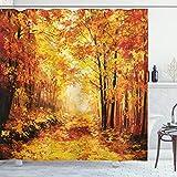 ABAKUHAUS Land Duschvorhang, Herbst im Wald entspannen, Hochwertig mit 12 Haken Set Leicht zu pflegen Farbfest Wasser Bakterie Resistent, 175 x 180 cm, Orange Brown