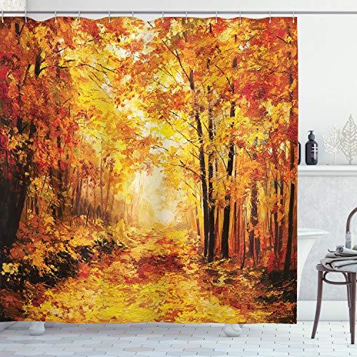ABAKUHAUS Land Duschvorhang, Herbst im Wald entspannen, Hochwertig mit 12 Haken Set Pflegeleicht Farbfest Wasser Bakterie Resistent, 175 x 180 cm, Orange Brown