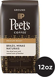 Peet's Coffee Brazil Minas Naturais Medium Roast Ground Coffee, 12 Ounce Bag Single Origin Coffee