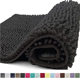 Kangaroo Plush Luxury Chenille Bath Rug, 30x20, Extra Soft and Absorbent Shaggy Bathroom Mat Rugs, Washable, Strong Underside, Plush Carpet Mats for Kids Tub, Shower, and Bath Room, Black