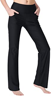 Women's Bootleg Yoga Pants with Pockets Long Bootcut Workout Running Pants Tummy Control Pockets Work Pants for Women