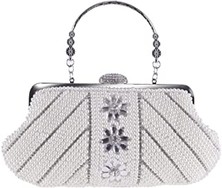 OVERyouzzh- Lady's Hand Pocket With Hand Handle Pearl Bag Color Off White and Champagne Size 27cmx10cm