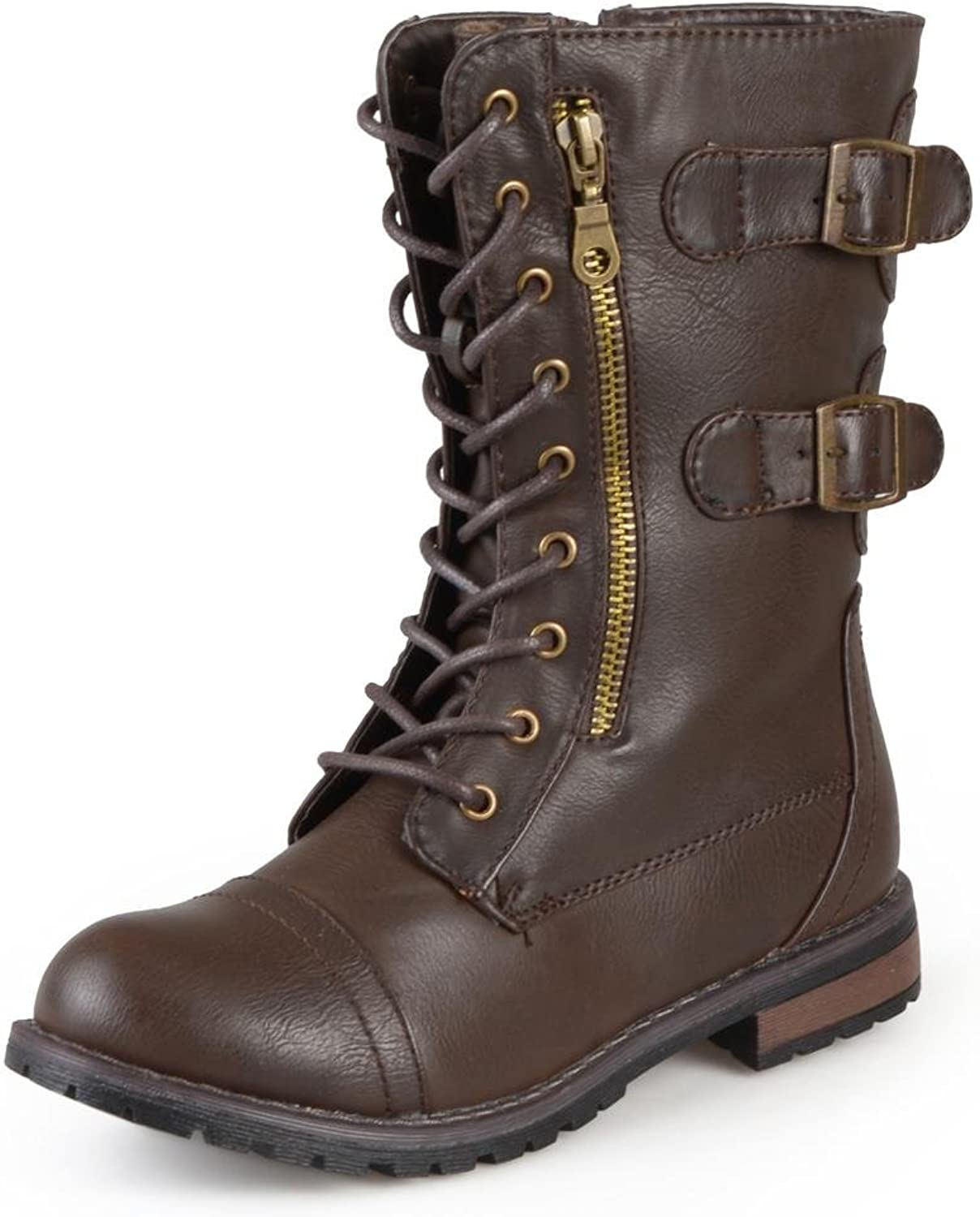 Journee Collection Womens Combat Buckle Mid-Calf Lace-Up Boot