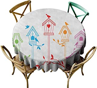 StarsART 3D Printed Tablecloth Birds,Sweet Colorful Bird Houses Nest with Flying Birds on The Roof Branches Animal Life, Multicolor D54,Round Tablecloth