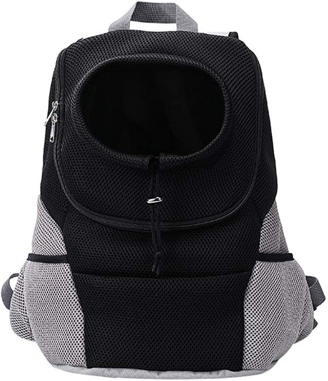 Front Door Dog Bag pet Backpack Outdoor Breathable mesh Head Backpack Travel Shoulder Bag Portable,Black,M