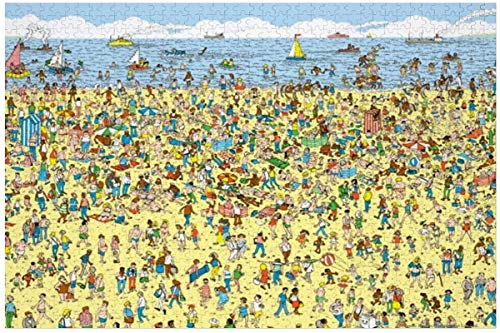 1000 piezas de rompecabezas de madera ¿Dónde está Wally en la playa? Juego de rompecabezas grande para adultos y adolescentes