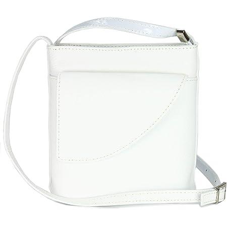 Belli ital. Ledertasche Damen Umhängetasche Handtasche Schultertasche mit zusätzlichem Klappfach in weiß - 18,5x18,5x7cm (B x H x T)