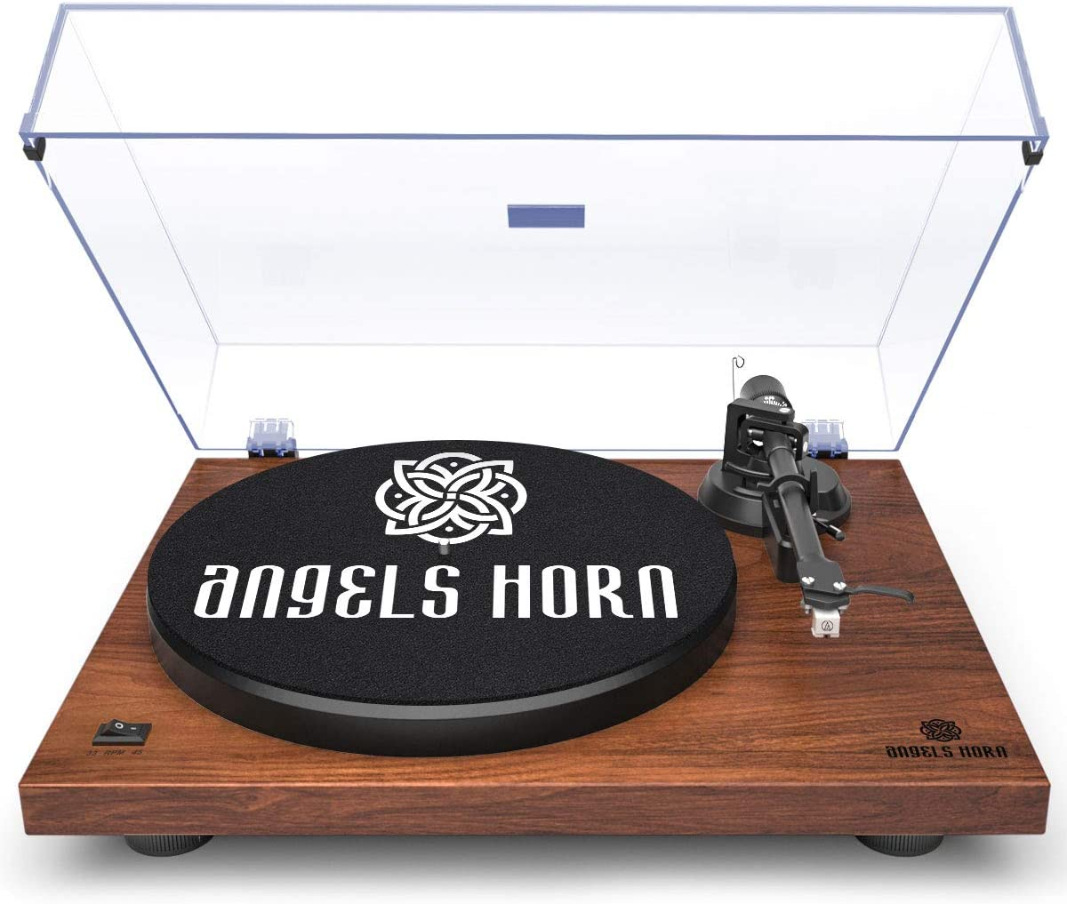 ANGELS HORN Turntable, Vinyl Record Player, Built-in Phono Preamp, Belt Drive 2-Speed, Adjustable Counterweight, AT-3600L (Walnut Wood)