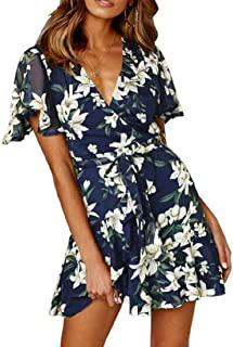 MU2M Women Short Sleeve Summer V-Neck Wrap Ruffle Hem Floral Print Mini Dress