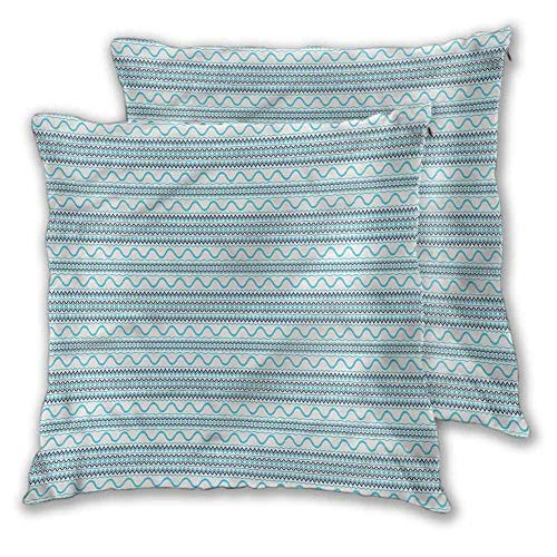Holiday Throw Pillow Covers Blue Home Sofa Decorative Tribal Design Waves W20 xL25
