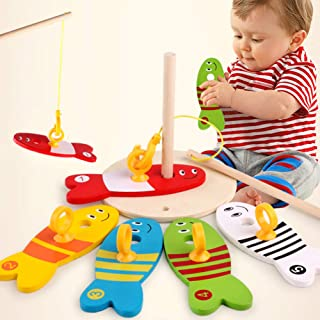 Sanwooden Toy Gift Fishing Toy Wooden Montessori Colorful Fishing Digital Column Game Early Educational Toys Toys for All ...