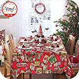 OurWarm Christmas Tablecloth Santa Snowflake Engineered Printed Xmas Table Runner 70 x 60inch Rectangular