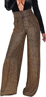 WSPLYSPJY Women Solid High Waist Silver Wire Sequins Casual Tight Wide Leg Pants