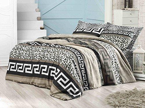 LaModaHome - Juego de Funda de edredón Doble de algodón y 65% de Lujo, 2 Piezas, con diseño de Leopardo y Cebra, con sábana encimera