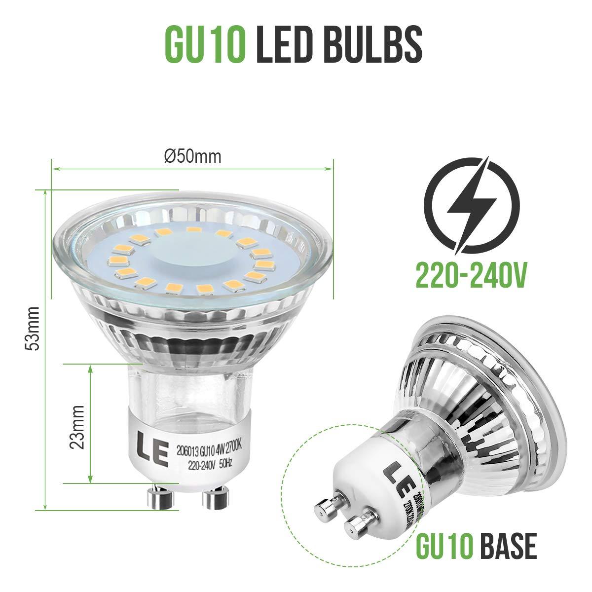 Lighting EVER Blanco C/álido 2700K Bombillas LED GU10-4W = 50W Hal/ógena paquete de 10