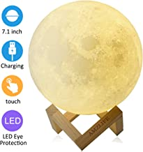 AMZLIFE Moon Light Moon Lamp 3D Night Light with Stand 7.1 Inch LED Print USB Rechargeable Moon Light Lamp Touch Sensor Switch and Dimmable Brightness 2 Colors Decor Moon Light for Gift