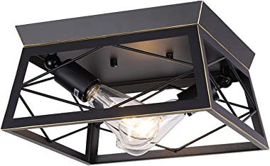 HMVPL Industrial Ceiling Lighting Fixtures, Farmhouse Flush Mount Close to Ceiling Lamp 2-Light for Kitchen Island Dining Roo